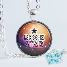 Rock star necklace rocker pendant glamour life word necklace word art gift for teens gift for her friendship gift by ThePendantPlanet