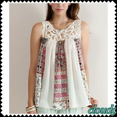 One left Boho Patch / Ivory Top NEW Simply boho style . Perfect weekend wear . Style with shorts or bf jeans ( slightly rolled up ) then pair with wedges ;)! Size: Small .Brand new no tags. Price FIRM unless bundled. ❌NO PP AND NO TRADES❌ Cloud 9 Tops