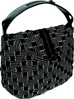 Pocker bag in handwoven fabric matto black. 100% cotton. zipper detail.