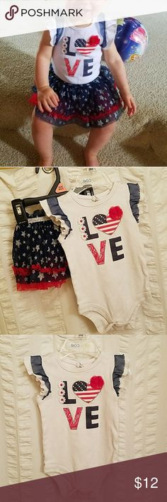 Patriotic baby outfit 🇱🇷 Make a statement with this adorable Americana outfit! Love this outfit! One of my faves.  Has the cutest tutu ever!!! Stars are glittery.  Good for summer or a summer holiday 🇱🇷  BUNDLE TO GET CHEAPER Baby Starters Matching Sets