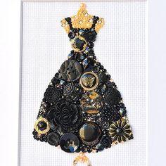 Button Art Black Dress Vintage Button by PaintedWithButtons