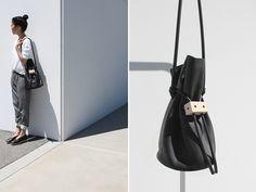 Handbag with building block detail