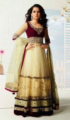 Bollywood Star Kangana Ranaut Net Floor Length Anarkali Suit churidar-suits salwars-and-churidars Price:British UK Pound £81, Euro101, Canada CA$149, Indian Rs.7452