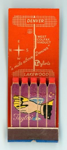 Taylor's Restaurant Supper Club Lakewood Co Vintage Full Feature Matchbook | eBay