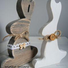 Drewniany zajączek szary 1 sztuka - Wielkanoc - Ozdoby świąteczne