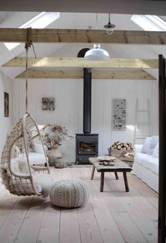 Wood burning stove in barn conversion. Natalie's Barn Conversion is a great example of neutral decor styled to perfection. This farmhouse style tour is modern rustic boho design in it's purest form. Barn House Interior, Barn Conversion Interiors, Modern Wood Burning Stoves, Barn Bedrooms, Barn House Plans, House Interior, Barn Style House, Modern Rustic Decor, Barn Interior