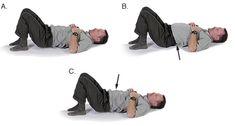 Photos of man practicing lower back flexibility exercise Lower Back Pain Exercises, Pelvic Floor Exercises, Lower Back Pain Relief, Back Flexibility, Flexibility Workout, Floor Workouts, Easy Workouts, Kegel Exercise For Men, Back Pain Remedies