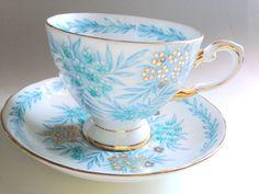 Tuscan Tea Cup and Saucer, Antique Tea Cups, Tea Set, Aqua Cups, English Bone China Cups, Tea Party, English Teacups, Antique Teacup by AprilsLuxuries on Etsy