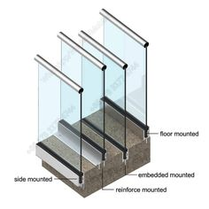 Glass railing with solid aluminum base – Yurihomes Balcony Glass Design, Glass Balcony Railing, Balcony Railing Design, Glass Stairs, Staircase Design Modern, Staircase Railing Design, Modern Stair Railing, Modern Stairs, Glass Handrail