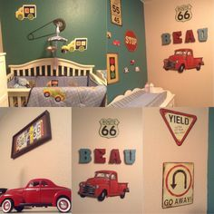 Car theme nursery for my son! It has a vintage touch and old cars displayed. Most items can be found at Hobby Lobby! Cute, simple and my husband digs it!