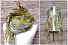 This is a large scarf/shawl/stole with Japanese fabric. It is 100% linen gauze with block geometric patterns. The colors are yellow/green shade with natural linen white. It is super soft, lightweight and breathable, and it gets even softer with washing. Because of the width of about 110cm (43 1/4), it is big enough for cold season, but still light weight you can use year around. The first photo shows how it would look like to wear it twice around your neck (on the left), a...