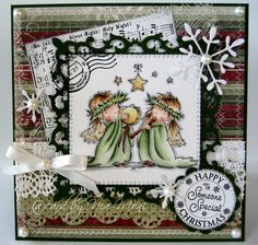 Such a sweet Christmas image from LOTV and love the paper choices and card design by Nixe-Moni. Christmas Card Crafts, Christmas Cards To Make, Christmas Angels, Xmas Cards, Handmade Christmas, Winter Karten, Whimsy Stamps, Christmas Characters, 3d Cards
