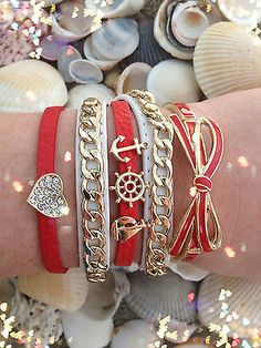 Bracelet Arm Candy Stack Nautical Red Love Ship Sailboat Heart Chain Bow Set New