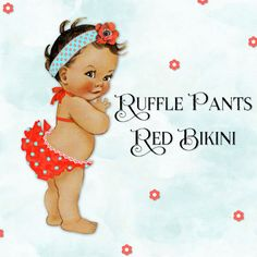 Ruffle Pants Lace Trimmed Red Bikini Barefoot   Vintage Baby Girl   3 Skintones   Clipart Instant Download