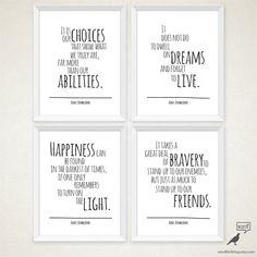 Albus Dumbledore 4 Quote Set, Happiness Quote, Typography Art Print, Harry Potter decor, harry potter poster, boys room art print, wall art