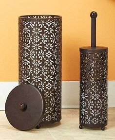 Toilet Paper Holder & Brush Set Decorative Metal Scroll Chocolate Brown Storage