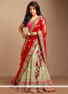 Beckoning Beige And Red Embroidered Work Lehenga Choli Model: YOLEN3600