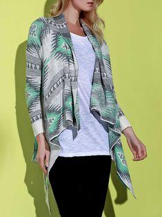 $12.65 Geometric Print Long Sleeve Asymmetric Cardigan For Women