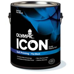 Olympic�Gallon Interior Flat Black Paint- I love this paint. I tried using black enamel paint on furniture and battled roller marks, and streaks. I will never use anything but this paint in the future for painting black onto furniture...such a pretty uniform result.