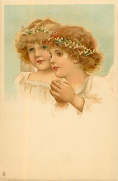 Two angels, one praying.  Both have woven crowns of lily-of-the-valley.  Artist, Frances Brundage ~ 1904.