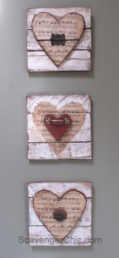 Wood Pallet Projects Valentine wooden heart -Pallet wood, vintage sheet music and rusty junk upcycle Wooden Hearts Crafts, Heart Crafts, Wooden Crafts, Valentine Decorations, Valentine Day Crafts, Holiday Crafts, Vintage Sheet Music, Vintage Sheets, Wood Pallets