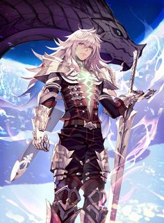 armor closed mouth cloud commentary request dark skin dark skinned male dragon eis expressionless fate/apocrypha fate (series) from below gauntlets glowing glowing tattoos greaves green eyes highres long hair male focus pauldrons shoulder pads siegfri Fate Characters, Fantasy Characters, Fantasy Character Design, Character Art, Fan Art Anime, Fate Servants, Xenoblade Chronicles, Anime Lindo, Poses References