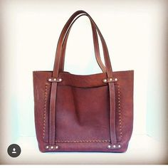 Tote with a nice lil cross stitch  #handmade #leather #tote #madeinusa #crossbowleather  Crossbow Leather | Custom Orders available online https://www.crossbowleather.com/pages/contact