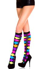 Neon Argyle Knee High Socks - glows Under black light!  Glow Run | Cute Neon Knee High Roller Derby Socks, Sexy Womens Bright Colored Socks