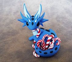 Candycane Hoarder Scrap Dragon by DragonsAndBeasties on Etsy