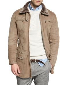 Brunello Cucinelli Twin-Face Lamb Suede Jacket w/Shearling Collar, Taupe
