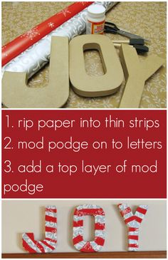 DIY JOY letters. sing wrapping paper #fabulouslyfestive simple and festive decor