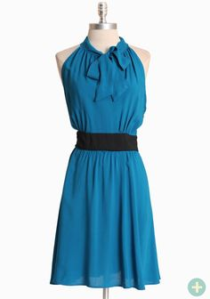 "Atlantica Curvy Plus A-line Dress 42.99 at shopruche.com. We adore this vibrant blue dress with a defining waist detail and a chic keyhole necktie. Finished with a hidden side zipper closure.  100% Rayon, Made in USA, 40"" length from top of shoulder"