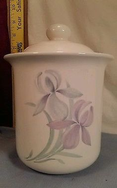 "PFALTZGRAFF SPRING SONG 7"" TALL CANISTER WITH LID - BLUE & LAVENDER IRIS"
