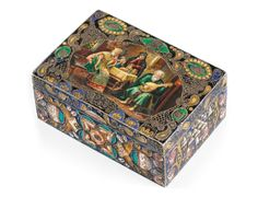 A FABERGÉ SILVER-GILT AND ENAMEL PICTORIAL BOX, WORKMASTER FEODOR RÜCKERT, 1908-1917 - rectangular, lid painted en plein with interior view of a boyarina & her children listening to aged lute player, lid border with stylised foliage in bright translucent green & blue on a black ground, front & back with central shaded rosettes, sides with geometric motifs, struck K.Fabergé in Cyrillic beneath Imperial Warrant, 88 standard, scratched inventory number 31092