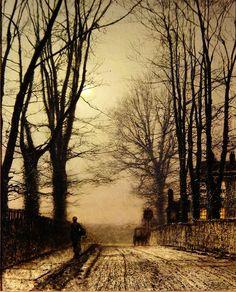 Putney Park Lane -                    John Atkinson Grimshaw