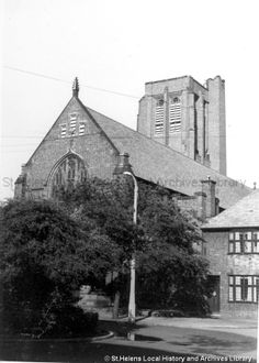 MSE/2/2/18 Black and white photograph showing St.Helens Parish Church, Church Street, St.Helens 1960  MSE - The Frank Sheen Collection 2 - Photographs showing various buildings, events and housing in St.Helens. 2 - Photographs showing churches in the St.Helens area
