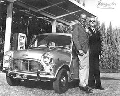 Alec Issigonis and Downton built this specially tuned Mini Cooper for their friend Enzo Ferrari, shown below with the man himself. Mini Cooper Classic, Mini Cooper S, Classic Mini, Classic Cars, Vintage Cars, Antique Cars, Vintage Photos, Austin Mini, Monte Carlo Rally