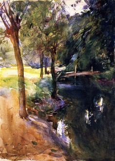 John Singer Sargent - The Shadowed Stream 1900. I don't usually think of him doing landscapes. Very nice.