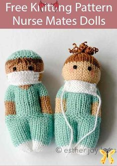 Free Knitting Pattern for Nurse Mates Dolls  <br> Knitted Doll Patterns, Knitted Dolls, Knitting Patterns Free, Free Knitting, Baby Knitting, Knitted Hats, Loom Knitting, Free Pattern, Nurse Mates