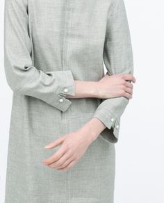 Cuff detail on Zara dress Kurti Sleeves Design, Kurta Neck Design, Sleeves Designs For Dresses, Dress Neck Designs, Sleeve Designs, Blouse Designs, Designer Wear, Designer Dresses, Sewing Sleeves