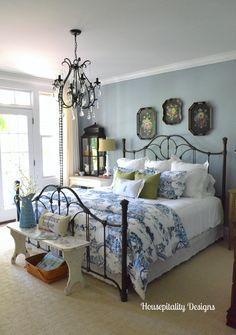 Neutral Farmhouse Master Bedroom Makeover Before After . Home Tour Saw Nail And Paint. Ideas For Organizing Refreshing Your Bedroom For Spring . Home and Family Blue Rooms, Blue Bedroom, Dream Bedroom, Blue Walls, Quirky Bedroom, Yellow Bedrooms, Bedroom Vintage, Cozy Bedroom, Shabby Chic Bedrooms