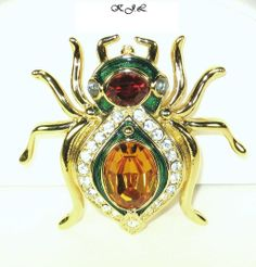 Kenneth Jay Lane Jeweled Spider Brooch - For sale on Ruby Lane