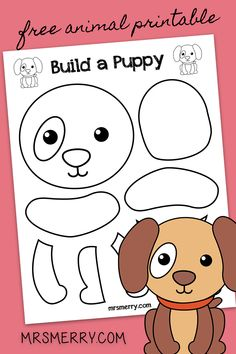 A free and easy diy kids printable craft. Build a puppy with this printout. Color, cut and enjoy! Free kids printables, all the time. Animal Crafts For Kids, Spring Crafts For Kids, Craft Projects For Kids, Toddler Crafts, Diy Crafts For Kids, Art For Kids, Lion Kids Crafts, Preschool Art Activities, Kindergarten Crafts