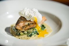 Rainbow Trout, leek and mushroom parcel, on parmesan creamed spinach, with poached egg and truffle oil.  Book info@shimmybeachclub.co.za Romantic Meals, Truffle Oil, Creamed Spinach, Rainbow Trout, The V&a, Poached Eggs, Early Spring, Truffles, Parmesan