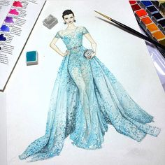 Beautiful sketch by @fay.fashion #liBingBing #cannes