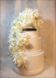 Elegant Cream Lace Wedding Card Box Handmade by WrapsodyandInk, $135.00