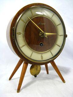 Vintage teak desk clock, table clock Kienzle, West German Mid ...
