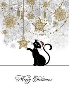 Christmas Decorations design greetings card by Jane Crowther from Bug Art. Buy now at Clouds Online UK stockist. Christmas Animals, Noel Christmas, Vintage Christmas Cards, Christmas Images, Christmas Cats, Vintage Cards, Winter Christmas, Xmas, Illustration Noel