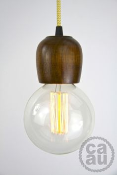 Pendant with a cord and wall plug or ceiling rose. Dark Maple wood with Zig Zag Yellow cord. Trip The Light Fantastic, Wall Plug, Ceiling Rose, Dark Wood, Zig Zag, Light Bulb, Cord, Shades, Lighting
