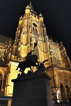 St. George statue in fron of St.Vitus cathedral, Prague, Czechia